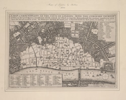 A map or groundplott of the citty of London with the surburbes therof so farr as the Lord Mayors iurisdiction doeth extend
